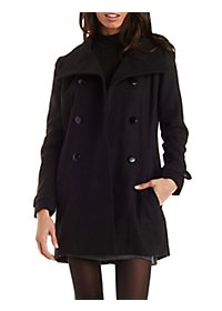 Wool Blend Peacoat with Button Collar