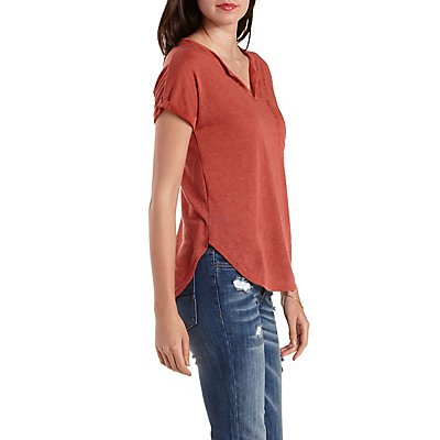 Cuffed Slub Knit Split-Neck Tee