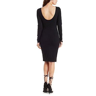 Long Sleeve Double Scoop Bodycon Dress