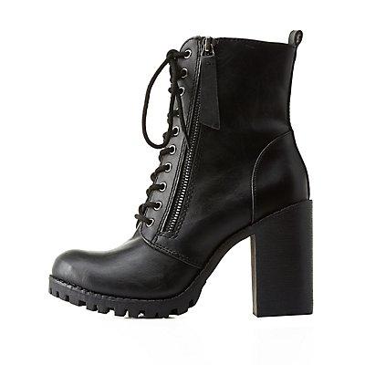 Zipper-Trim Chunky Heel Combat Boots