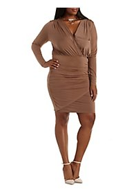 Plus Size Ruched Wrap Dress