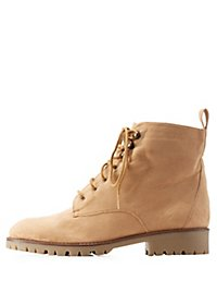Qupid Lug Sole Combat Booties