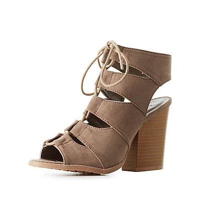 Qupid Chunky Lace-Up Sandals
