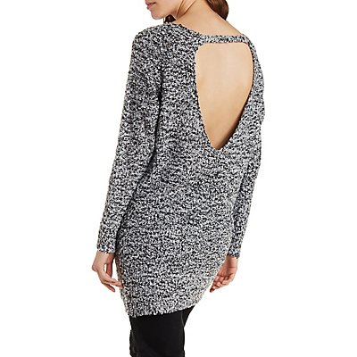 Marled Open Back Sweater Dress