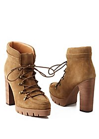 Report Signature Lace-Up Lug Sole Wok Booties