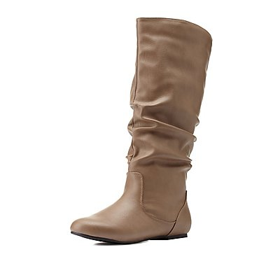 Slouchy Flat Mid-Calf Boots