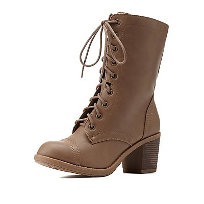 Lace-Up Chunky Heel Combat Boots