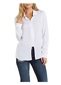 Lace-Up Side Button-Up Top