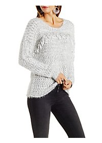 En Creme Marled Slub Knit Dropped Shoulder Sweater