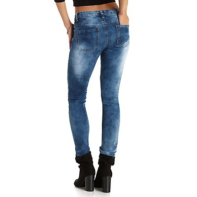 Chiqle Quilted Skinny Moto Jeans