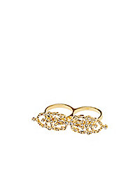 Rhinestone Two-Finger Ring