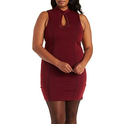Plus Size Mock Neck Embroidered Dress