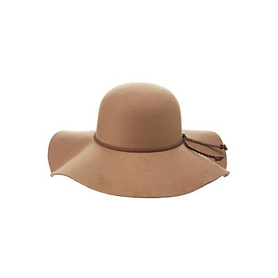 Floppy Hat with Woven Faux Leather Trim