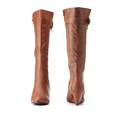 Zipped & Belted Wedge Boots