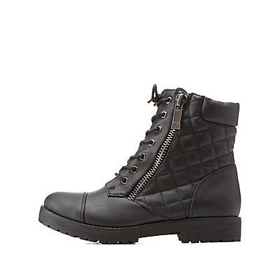 Bamboo Quilted Combat Booties