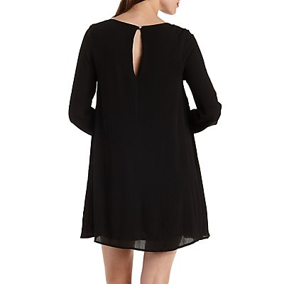 Crochet-Trim Long Sleeve Shift Dress