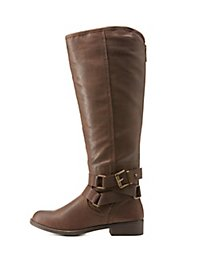 Madden Girl Knee-High Belt-Wrapped Riding Boots