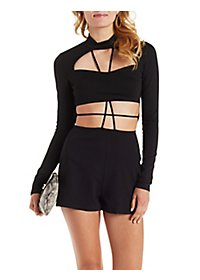 Long Sleeve Caged Mock Neck Romper