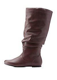 Slouchy Flat Mid-Calf Boot
