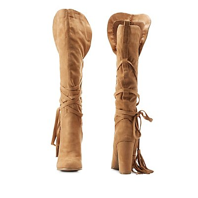 Tassel-Wrapped Chunky Heel Boots