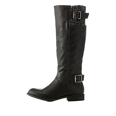 Riding Boots with Buckles & Knit Shaft