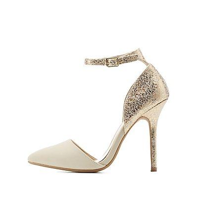 Marbled Metallic Ankle Strap Heels
