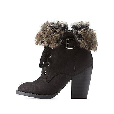 Faux Fur-Cuffed High Heel Combat Booties