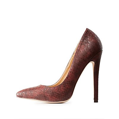 Croc-Textured Pointed Toe Pumps