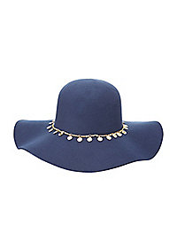 Coin-Embellished Wide Brim Floppy Hat