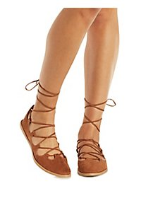 Qupid Crisscross Lace-Up Round Toe Flats