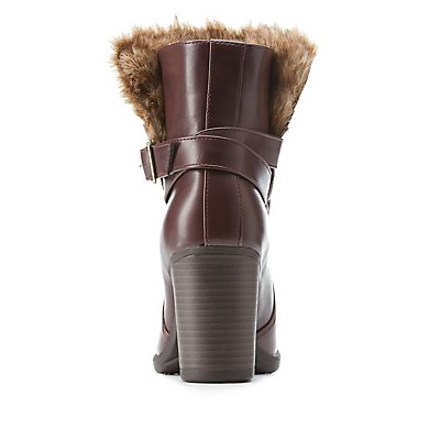 Faux Fur-Trim Belted Chunky Heel Booties