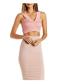 V-Neck Bandage Crop Top
