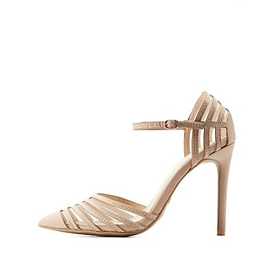 Pointed Toe Ankle Strap Pumps