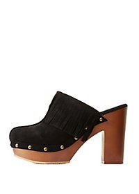 Chunky Studded Mules with Fringe