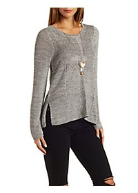 Mixed Stitch Marled Pullover Sweater with Slits