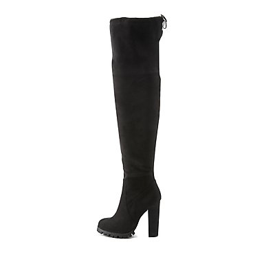 chunky heel drawstring the knee boots russe