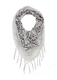Fringed Aztec Print Square Scarf