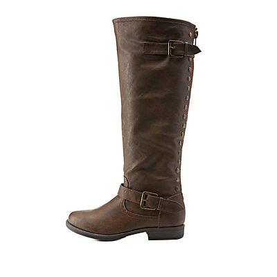 bamboo studded back zipper knee high boots