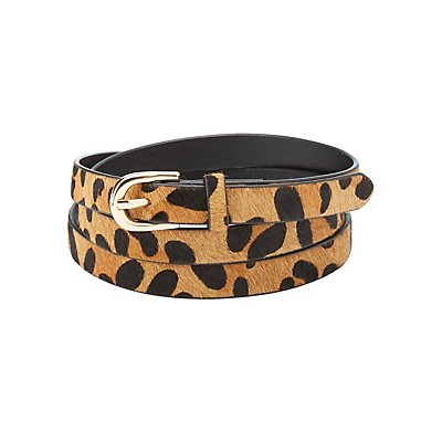 Skinny Leopard Print Belt