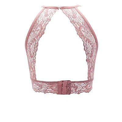 High-Cut Lace Halter Bralette