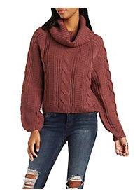 Cowl Neck Cable Knit Pullover Sweater