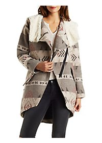 Oversize Tribal Print Coat with Faux Fur Trim