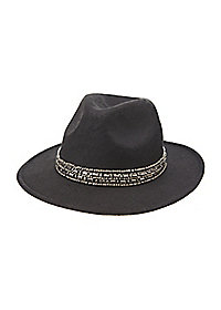 Felt Panama Hat with Chrome Beading