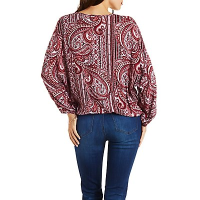 Paisley Print Tied Wrap Top