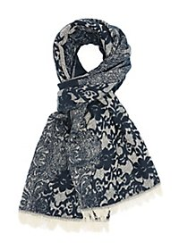 Fringed Woven Floral Print Scarf