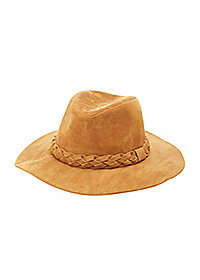 Faux Suede Panama Hat with Braid