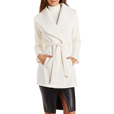 Open Collar Belted Fleece Trench Coat | Charlotte Russe