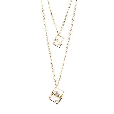 Layered Diamante Cube Pendant Necklace