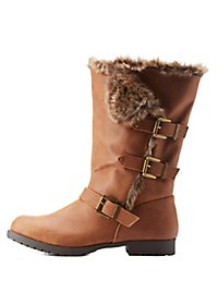Faux Fur-Trim Belted Mid-Calf Boots