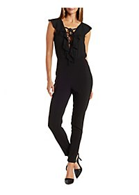 Lace-Up Ruffle Chiffon Jumpsuit